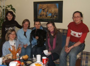 Laura (in the blue shirt) and her discipleship group