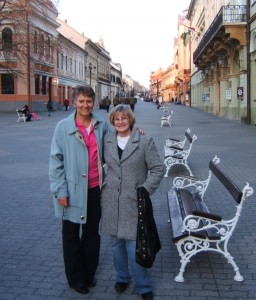 Grace and Barb in downtown Kaposvar -- it's beautiful here!