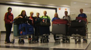 Arrived in Budapest -- all suitcases accounted for!