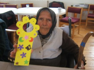 A senior Romanian lady with whom I did a craft. Isn't she a sweetie?