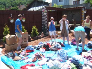 Sorting clothing donations
