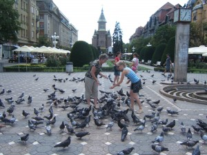 I've always wanted to feed the pigeons! In the background, you can see the Orthodox cathedral.