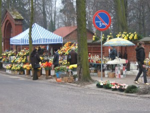 Merchants outside the cemetery gate